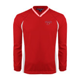 Colorblock V Neck Red/White Raglan Windshirt-Lamar w/Cardinal Head