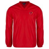 V Neck Red Raglan Windshirt-Cardinal Head