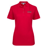 Ladies Easycare Red Pique Polo-Wordmark