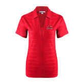 Ladies Red Horizontal Textured Polo-Lamar University w/Cardinal Head