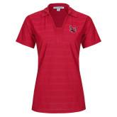 Ladies Red Horizontal Textured Polo-Interlocking LU