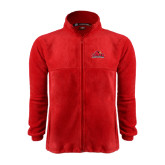 Fleece Full Zip Red Jacket-Lamar University w/Cardinal Head
