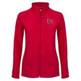 Ladies Fleece Full Zip Red Jacket-Interlocking LU