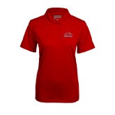 Ladies Red Mini Stripe Polo-Lamar University w/Cardinal Head