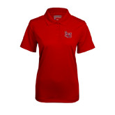 Ladies Red Mini Stripe Polo-LU