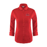 Ladies Red House Red 3/4 Sleeve Shirt-Lamar University w/Cardinal Head