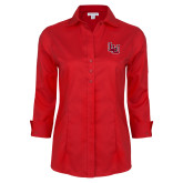 Ladies Red House Red 3/4 Sleeve Shirt-Interlocking LU