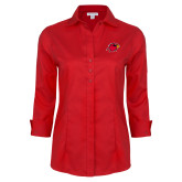 Ladies Red House Red 3/4 Sleeve Shirt-Cardinal Head