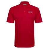 Red Textured Saddle Shoulder Polo-Wordmark
