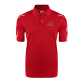 Adidas ClimaLite Red 3 Stripe Cuff Polo-Lamar University w/Cardinal Head