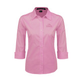 Ladies Pink 3/4 Sleeve Stretch Poplin-Lamar University w/Cardinal Head