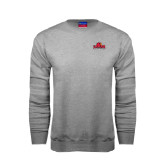 Grey Fleece Crew-Lamar University w/Cardinal Head