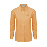 Ladies Light Orange Oxford Shirt-Lamar University w/Cardinal Head