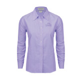 Ladies Light Purple Oxford Shirt-Lamar University w/Cardinal Head
