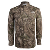 Camo Long Sleeve Performance Fishing Shirt-Primary Mark, Logo above pocket