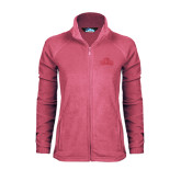 Ladies Fleece Full Zip Raspberry Jacket-Lamar University w/Cardinal Head