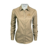 Ladies Khaki Twill Button Down Long Sleeve-Lamar University w/Cardinal Head