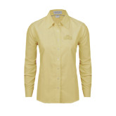 Ladies Light Yellow Oxford Shirt-Lamar University w/Cardinal Head