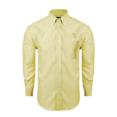 Mens Light Yellow Oxford Long Sleeve Shirt-Lamar University w/Cardinal Head