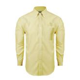 Mens Light Yellow Oxford Long Sleeve Shirt-Lamar University w/Cardinal Head