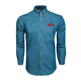 Denim Shirt Long Sleeve-Lamar University w/Cardinal Head