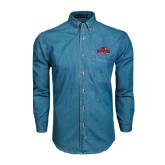 Denim Shirt Long Sleeve-Lamar University w/Cardinal Head