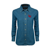 Ladies Denim Long Sleeve Shirt-LU