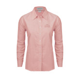 Ladies Light Pink Oxford Shirt-Lamar University w/Cardinal Head