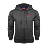 Champion Charcoal Fleece Full Zip Hood-Lamar University w/Cardinal Head