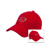Red Heavyweight Twill Pro Style Hat-Cardinal w/Lamar on Side Puff