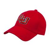 Red Heavyweight Twill Pro Style Hat-Interlocking LU