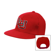 Red Flat Bill Snapback Hat-Interlocking LU