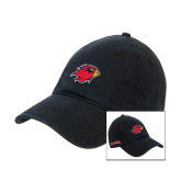 Black Twill Unstructured Low Profile Hat-Cardinal w/Lamar on Side Puff
