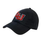 Black Twill Unstructured Low Profile Hat-Interlocking LU