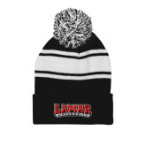 Black/White Two Tone Knit Pom Beanie with Cuff-Wordmark