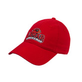 Red Twill Unstructured Low Profile Hat-Lamar University with Cardinal Puff