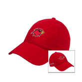 Red Twill Unstructured Low Profile Hat-Cardinal w/Lamar on Side Puff