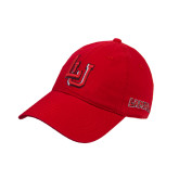 Red Twill Unstructured Low Profile Hat-LU w/Cardinals Puff