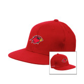 Red Flexfit Flat Bill Pro Style Hat-Cardinal Head