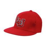 Red OttoFlex Flat Bill Pro Style Hat-Interlocking LU