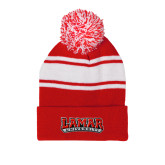 Red/White Two Tone Knit Pom Beanie with Cuff-Wordmark