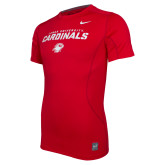 NIKE Red Pro Combat Fitted Tee-