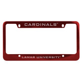 Metal Red License Plate Frame-Cardinals