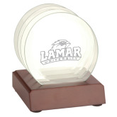 Glass Coaster Set w/ wood base-Lamar University w/Cardinal Head Engraved