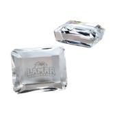 Brilliant Emerald Cut Crystal Paperweight-Lamar University w/Cardinal Head Engraved