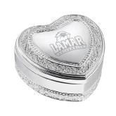 Vintage Style Heart Trinket Box-Lamar University w/Cardinal Head Engraved, Personalized