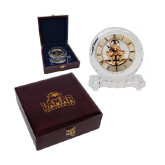 Round Crystal Clock in Rosewood Box-Lamar University w/Cardinal Head Engraved