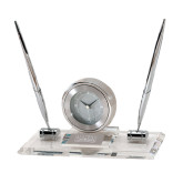 Executive Glass Clock and Pen Stand-Lamar University Engraved