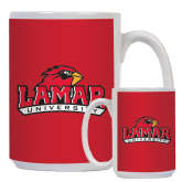 Full Color White Mug 15oz-Lamar University w/Cardinal Head