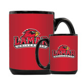 Full Color Black Mug 15oz-Lamar University w/Cardinal Head